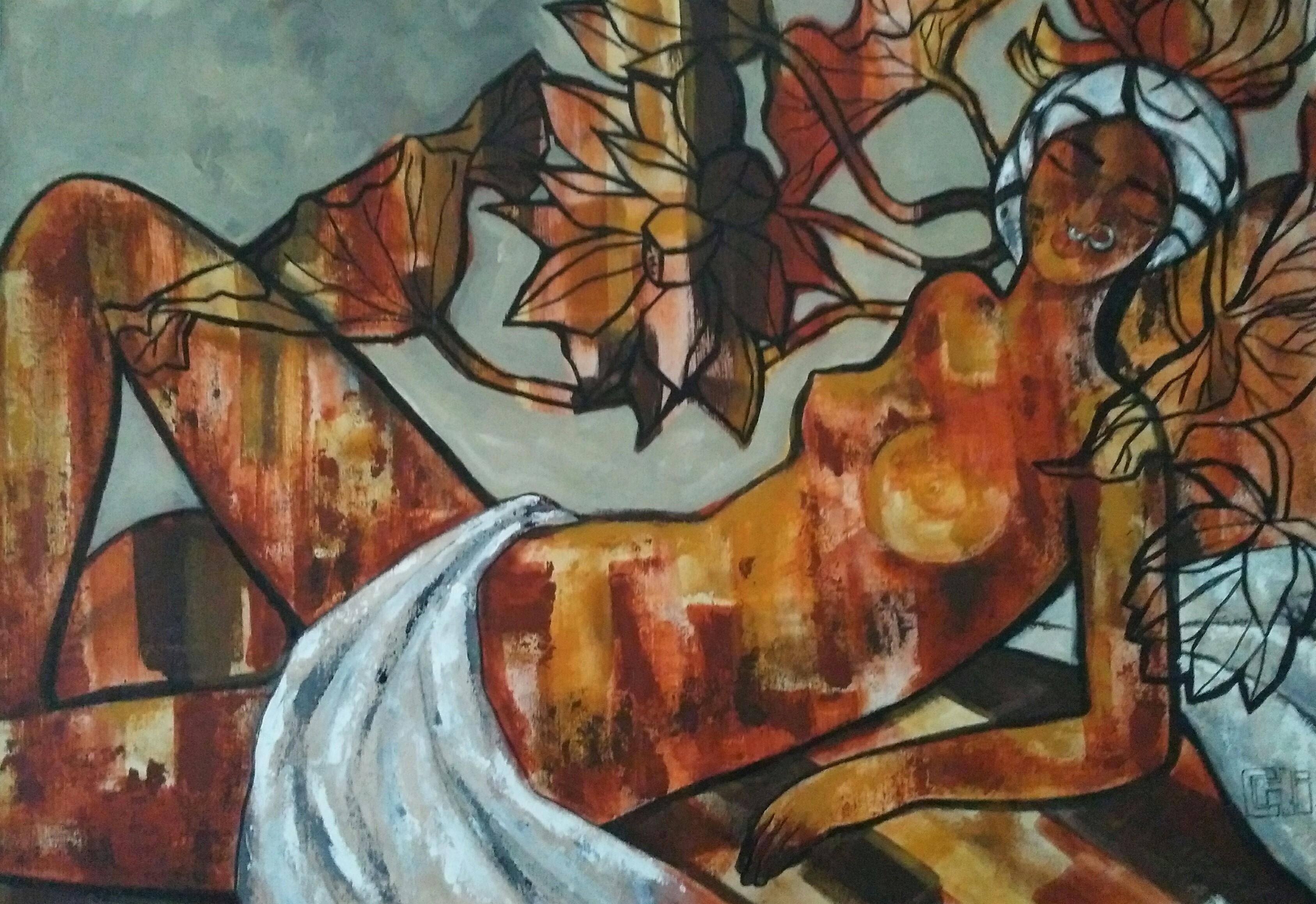 reclining figure II 24x36 acrylics on canvas 85,000