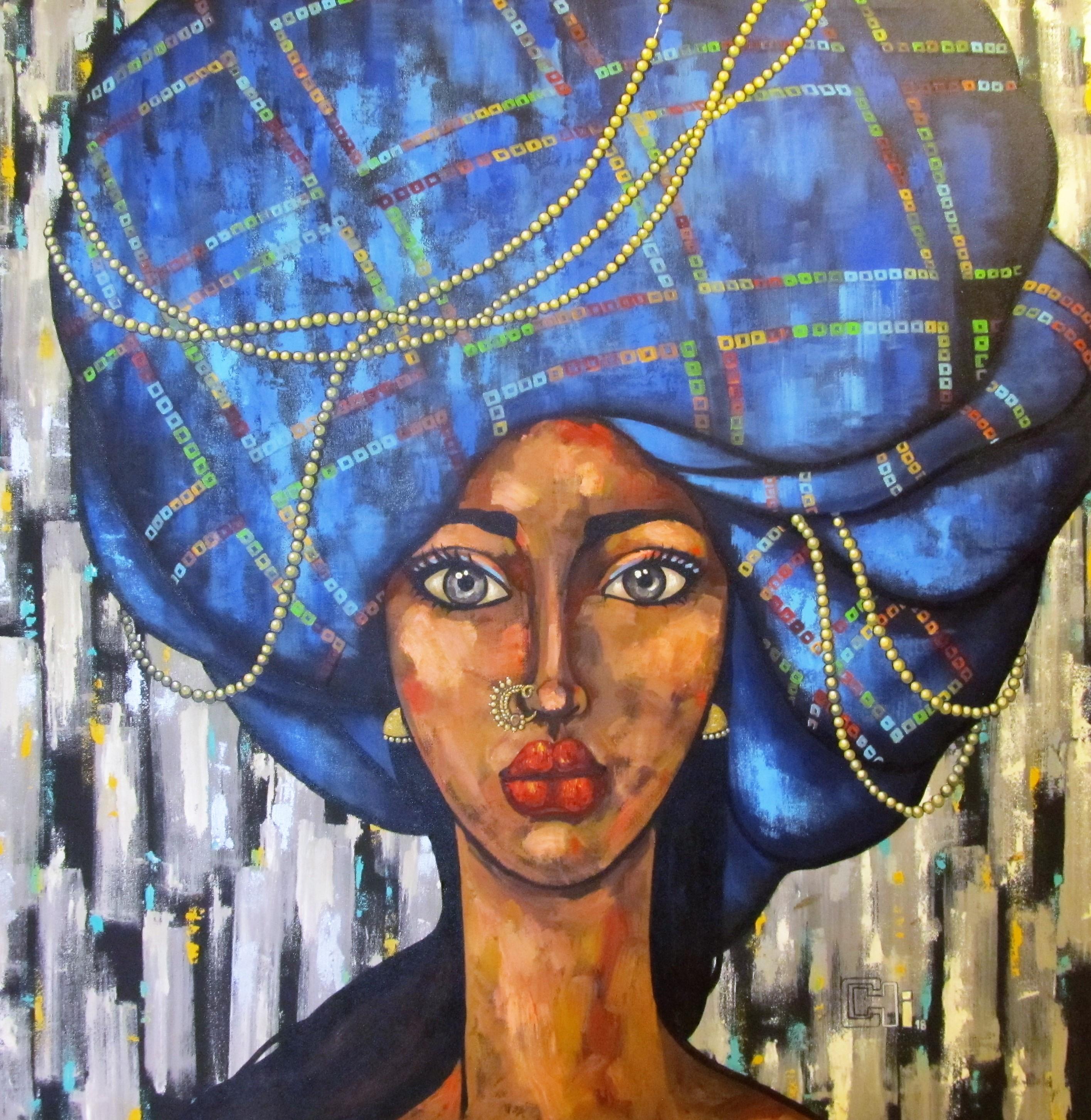 Girl in a blue turban 48x48 acrylics on canvas INR 1,65000