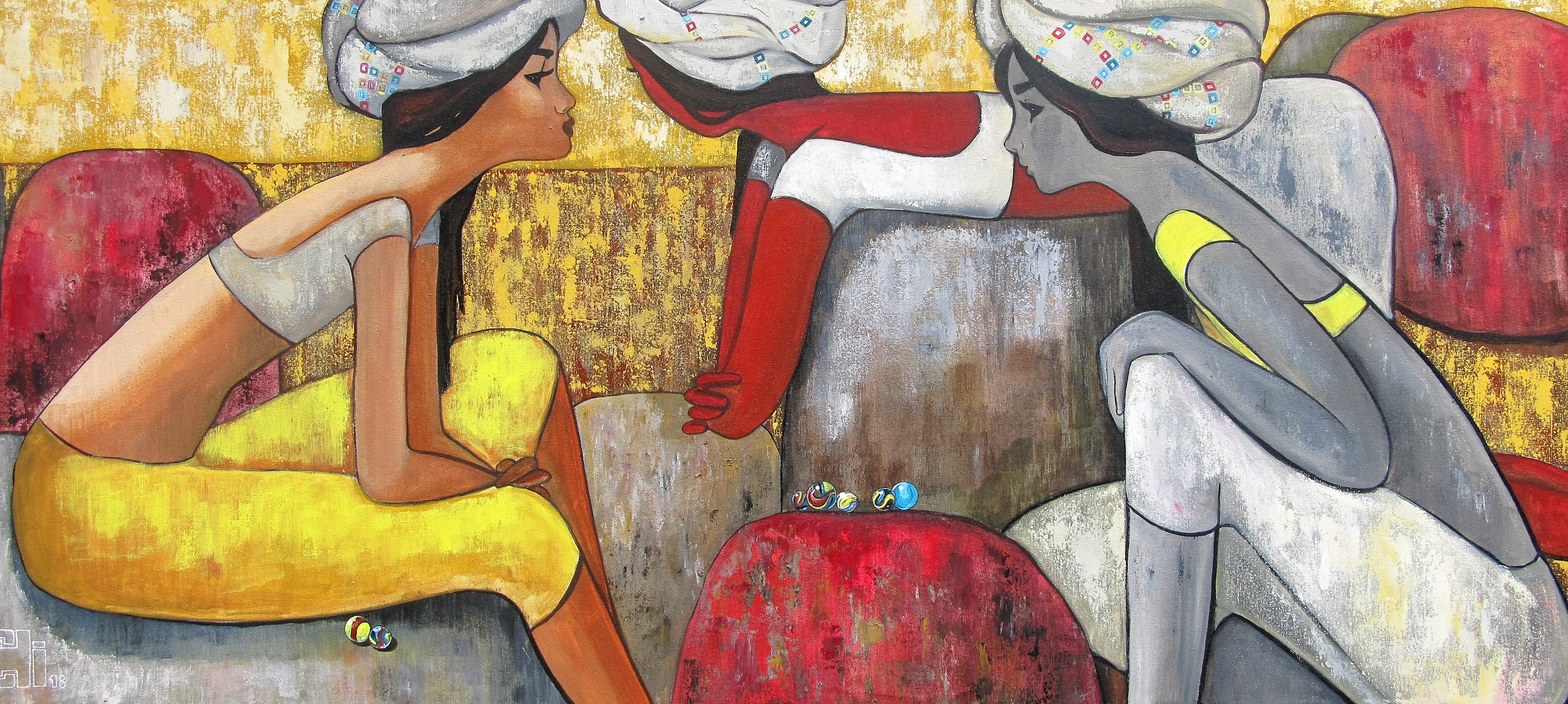 Girl playing marbles 60x27 acrylics on canvas INR 1,55,000