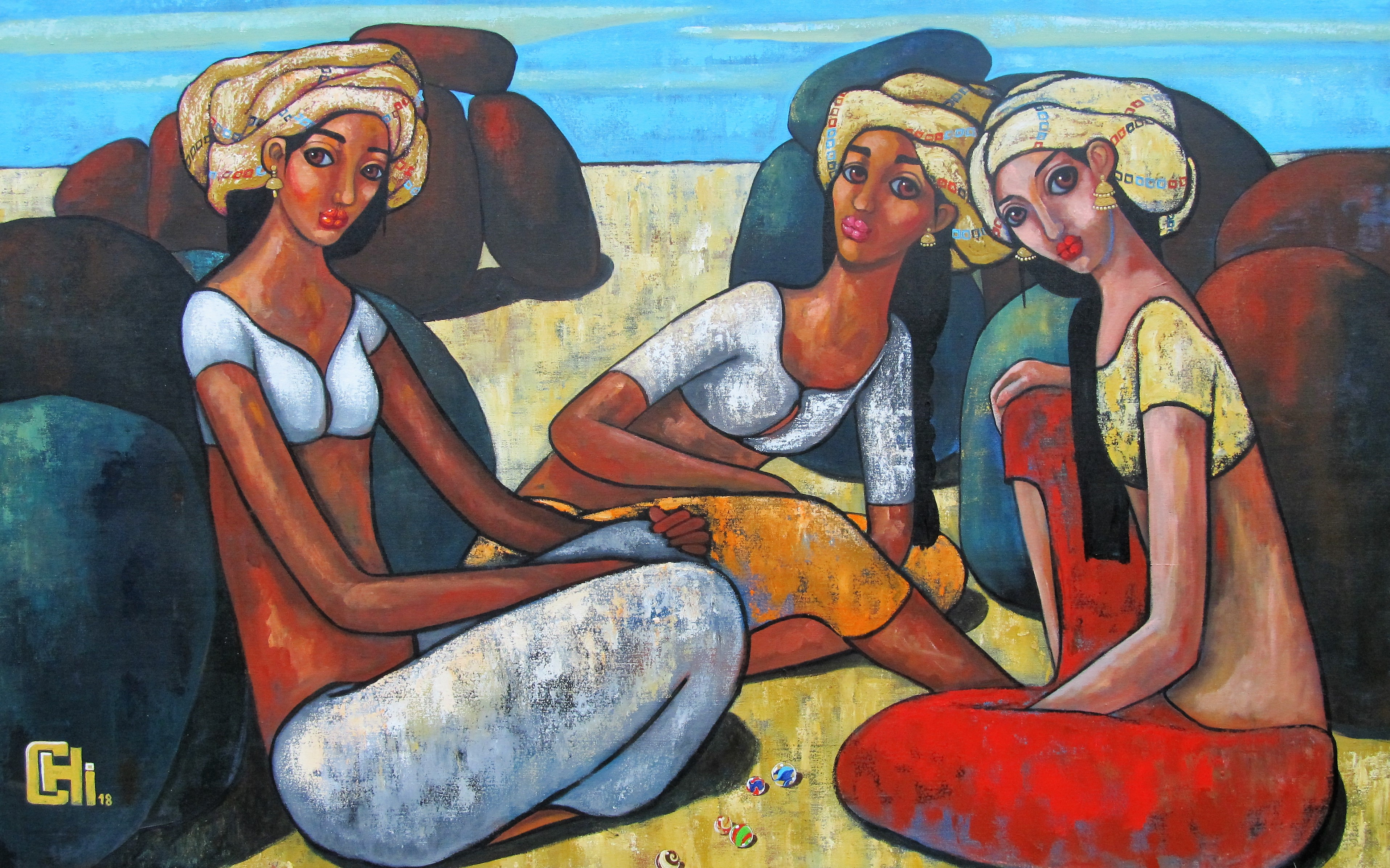 Girls playing marbles 60x 40 acrylics on canvas INR 1,65,000
