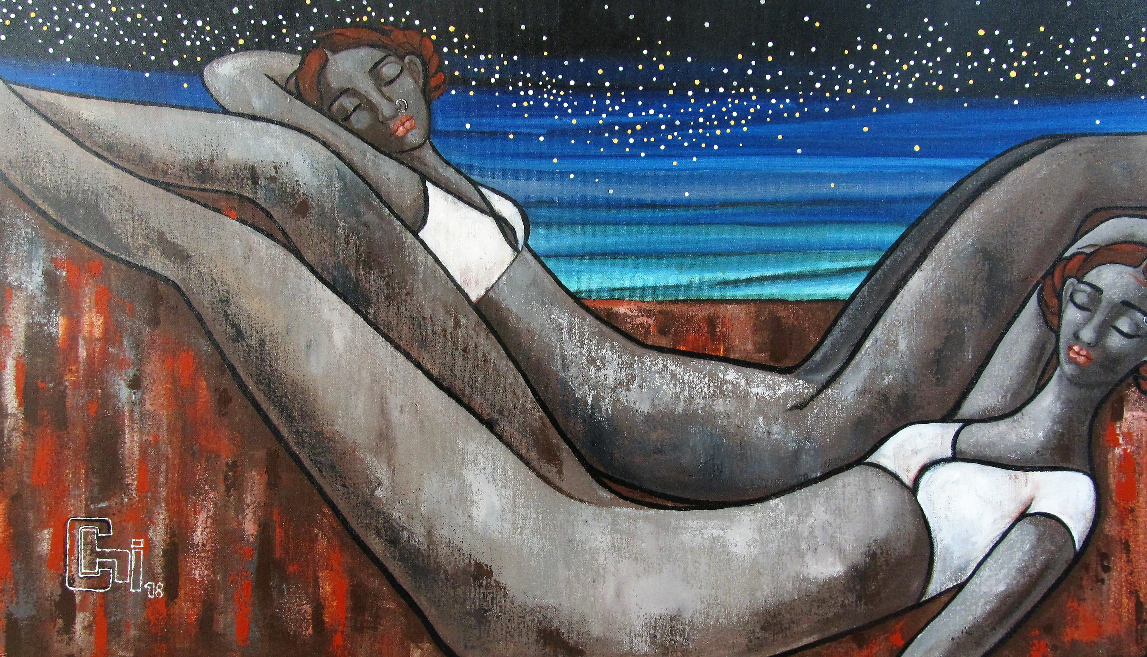Reclining figures 40x24 acrylics on canvas INR 85,000