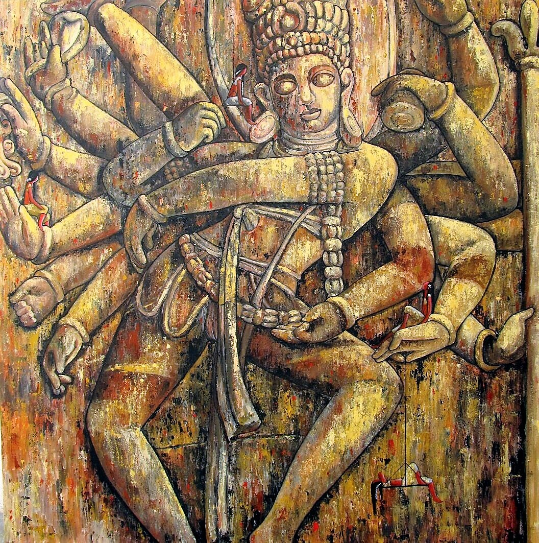 The dance of creation 48x48 acrylics on canvas INR 1,65,000