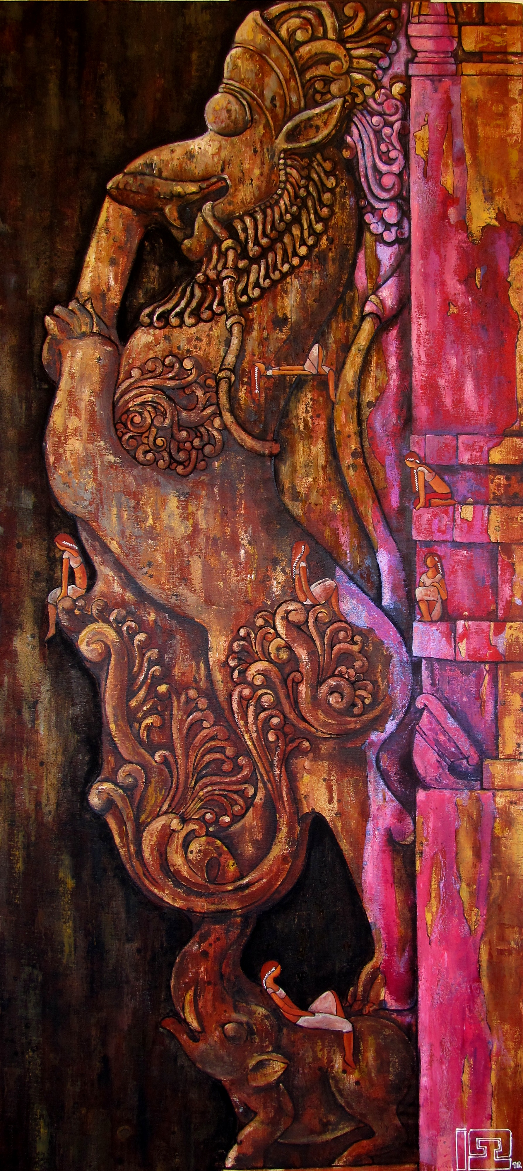 Yali the protector of the gates 27x 56 Oil on canvas
