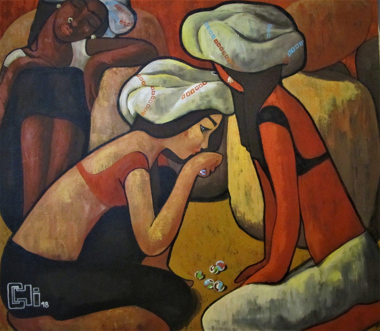 Modern art - Girls Playing